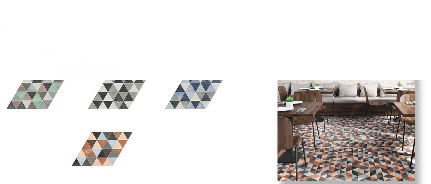 Azulejo porcelánico diamond triangle 70x40 cm