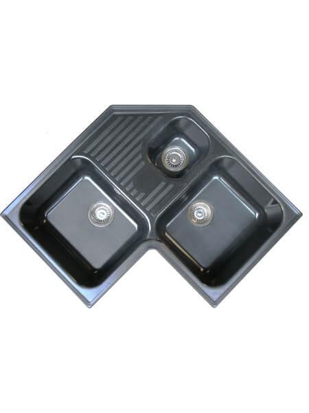Fregadero de fibra zentia esquina 3c brillo sobre encimera 830x830mm