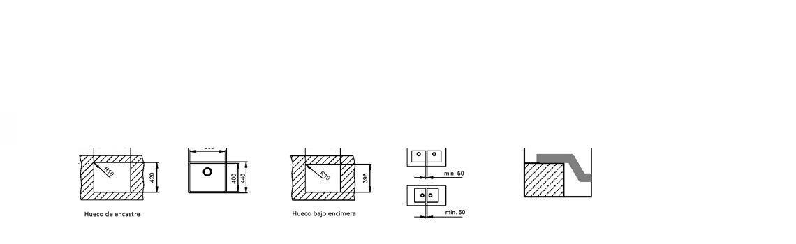 Fregadero de fibra zentia bee 5040 brillo bajo o enrasado.