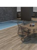 Pavimento porcelánico rectificado Frotk Taupe 20x120 cm.