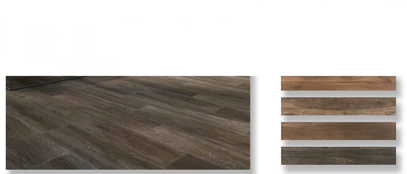 Pavimento porcelánico rectificado Noset ceniza 20x120 cm.