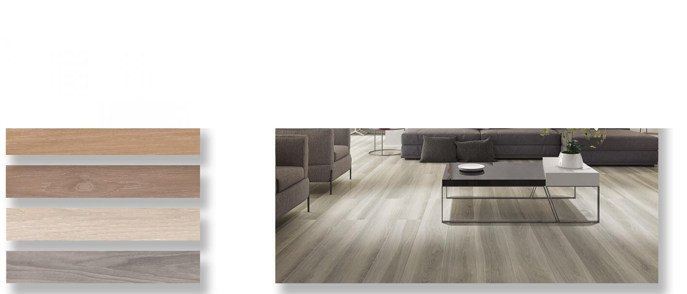 Pavimento porcelánico rectificado Rikhss Natural 20x120 cm.