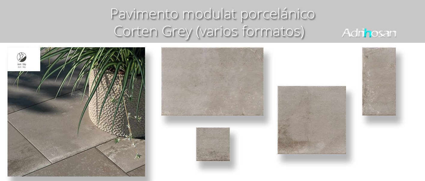 Azulejo modular porcelánico Corten grey