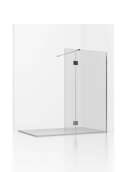 Fijo + abatible de ducha Adr cristal transparente de 6 mm de 80 y 100 cm con antical