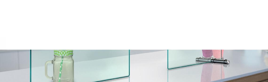 Mampara de protección con apertura 25 cm para negocios y despachos vidrio templado