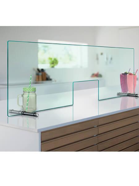 Mampara de protección con apertura 25 cm para negocios vidrio templado