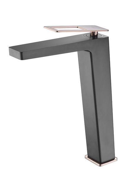 Monomando lavabo alto Voussac grifo negro oro rosa