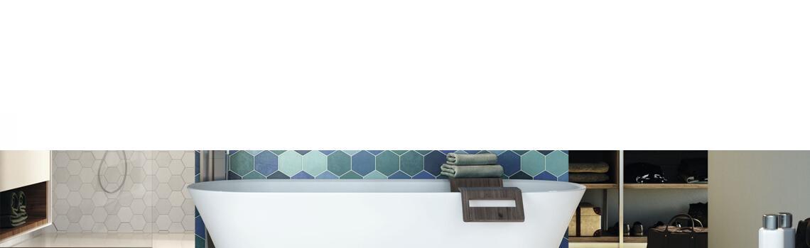 Pavimento hexagonal porcelánico hex aquamarine 26,5 x 51 cm.