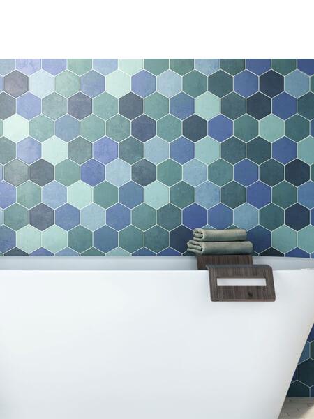 Pavimento hexagonal porcelánico hex aquamarine 26,5 x 51 cm (0.95 m2/cj)