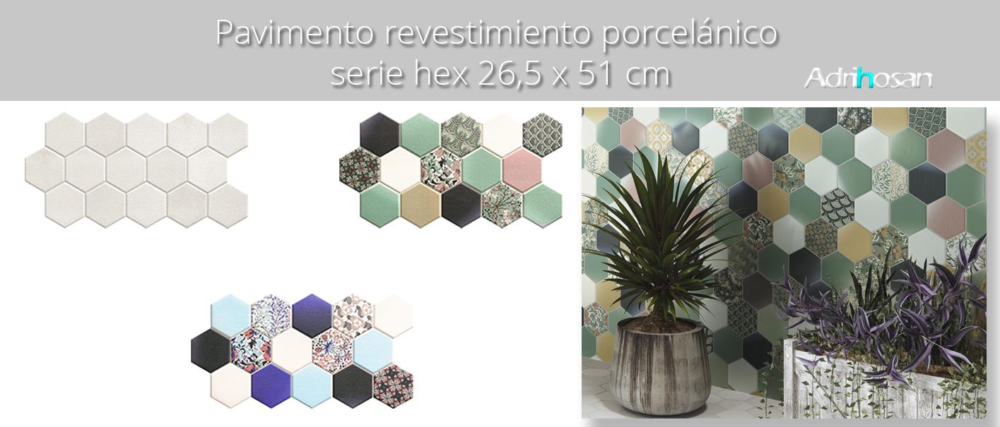 Pavimento hexagonal porcelánico hex nouveau blue 26,5 x 51 cm.