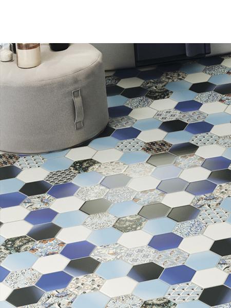 Pavimento hexagonal porcelánico hex nouveau blue 26,5 x 51 cm (0.95 m2/cj)