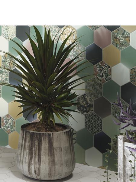 Pavimento hexagonal porcelánico hex nouveau green 26,5 x 51 cm.
