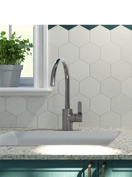 Pavimento hexagonal porcelánico hex white 26,5 x 51 cm (0.95 m2/cj)