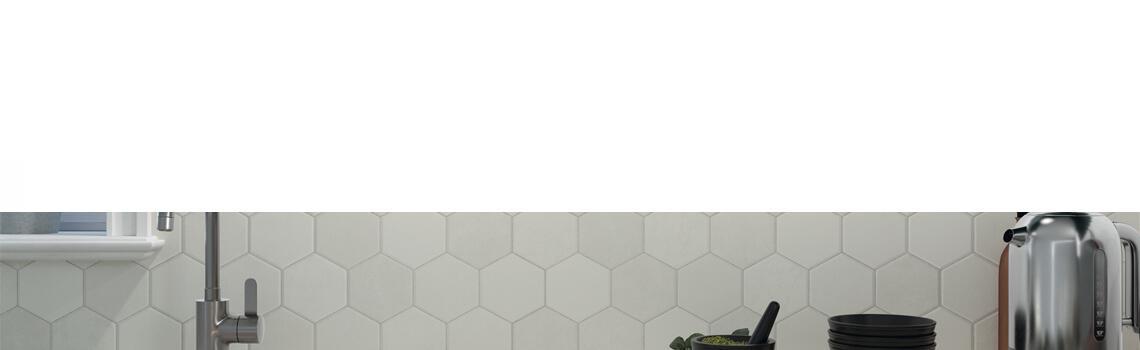 Pavimento hexagonal porcelánico white 26,5 x 51 cm.