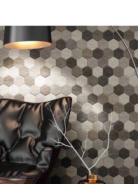 Pavimento hexagonal porcelánico stonehenge hex frost 26,5 x 51 cm (0.95 m2/cj)