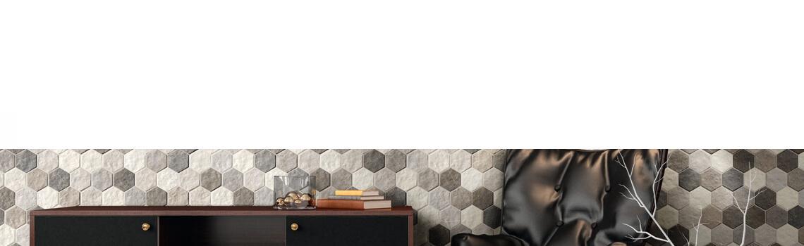 Suelo porcelánico hexagonal frost 26,5 x 51 cm