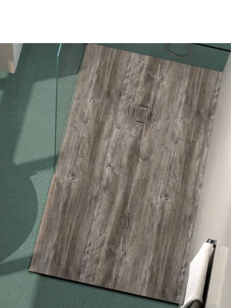 Plato de ducha de resina Gel Coat madera Baobab
