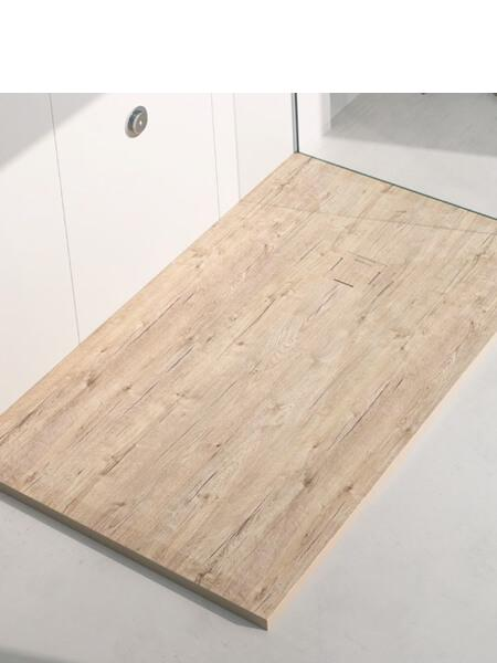 Plato de ducha de resina Gel Coat madera Nature.