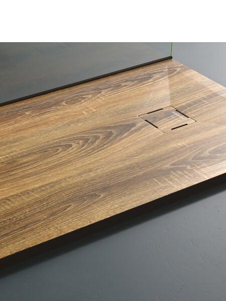 Plato de ducha de resina Gel Coat madera Nogal