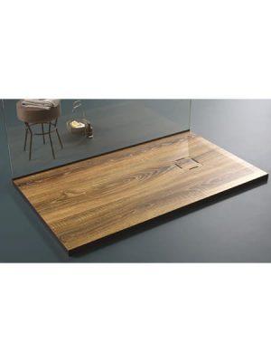 Plato de ducha de resina Gel Coat madera Nogal.