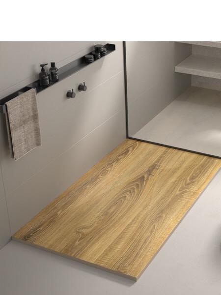Plato de ducha de resina Gel Coat madera Roble