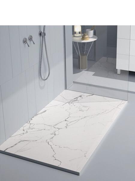 Plato de ducha de resina Gel Coat mármol Calacatta blanco