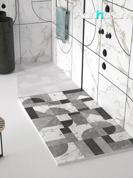 Plato de ducha de resina Gel Coat Mosaico 01 blanco y negro