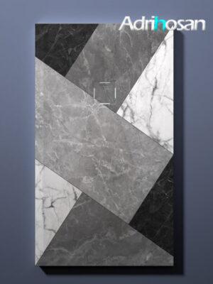 Plato de ducha de resina Gel Coat Mosaico 02 blanco y negro.