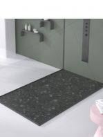 Plato de ducha de resina Gel Coat Terrazo negro.