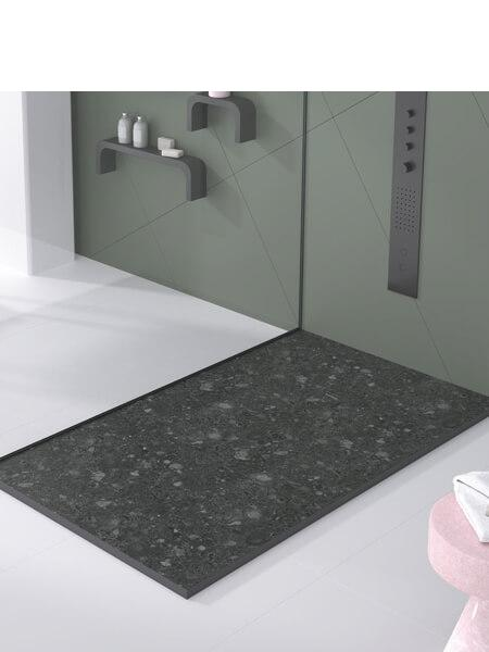 Plato de ducha de resina Gel Coat Terrazo negro