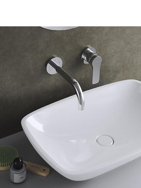 Monomando lavabo empotrado Bass cromo brillo Martelli Made in Italy