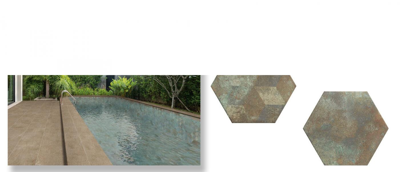Pavimento hexagonal porcelánico Donegal Forest 28.5 x 33 cm.