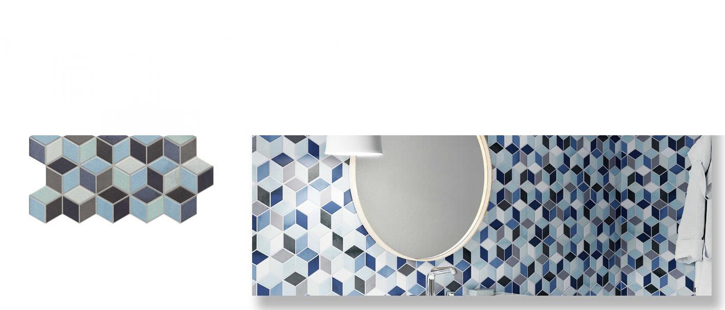 Pavimento hexagonal porcelánico Rhombus blue 26,5 x 51 cm