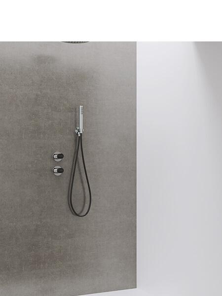 Conjunto ducha minimal free cromo-negro Martelli Made in Italy