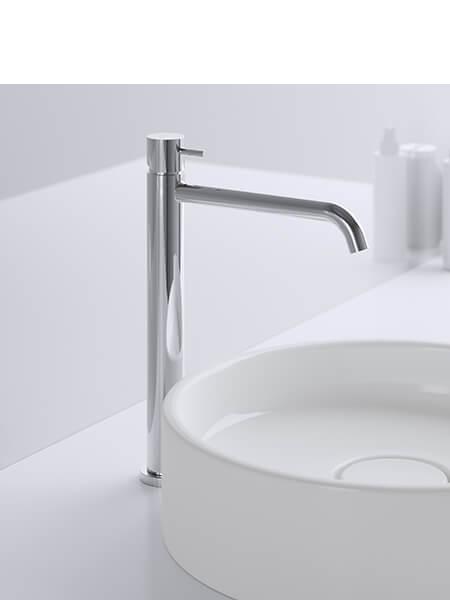 Monomando lavabo alto minimal cromado Martelli Made in Italy