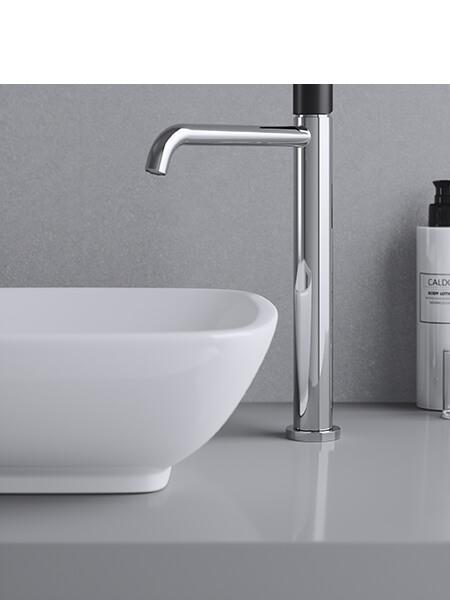 Monomando lavabo alto minimal free cromo-negro Martelli Made in Italy