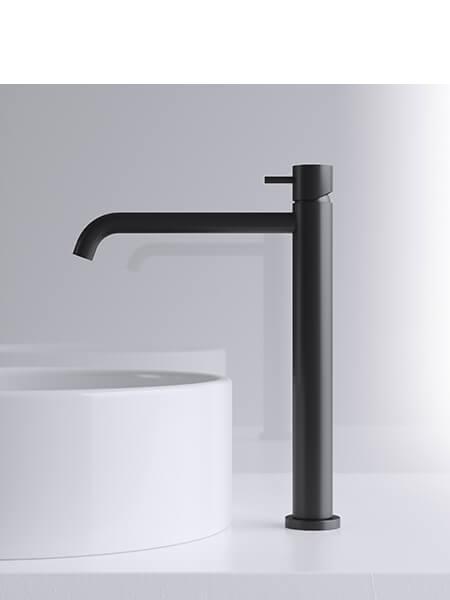 Monomando lavabo alto minimal negro mate Martelli Made in Italy