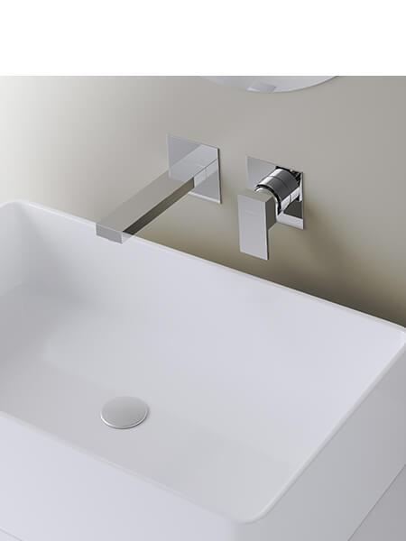 Monomando lavabo empotrado Cube cromado Martelli Made in Italy