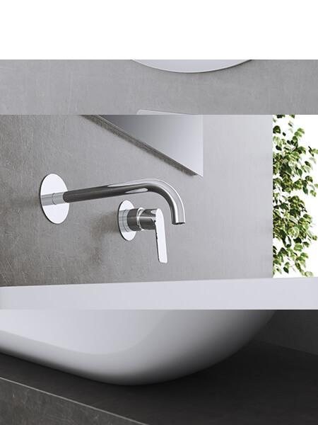 Monomando lavabo empotrado Livorno cromado Martelli Made in Italy
