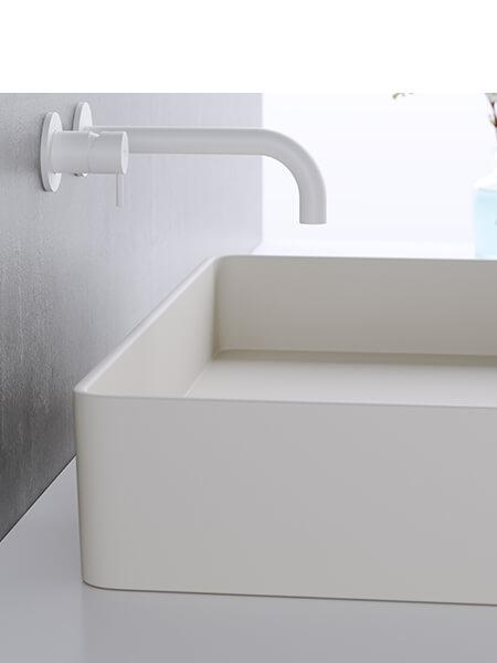 Monomando lavabo empotrado minimal blanco mate Martelli Made in Italy