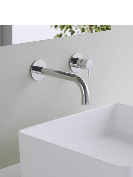 Monomando lavabo empotrado minimal cromado Martelli Made in Italy