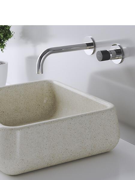 Monomando lavabo empotrado minimal free cromo-negro Martelli Made in Italy.