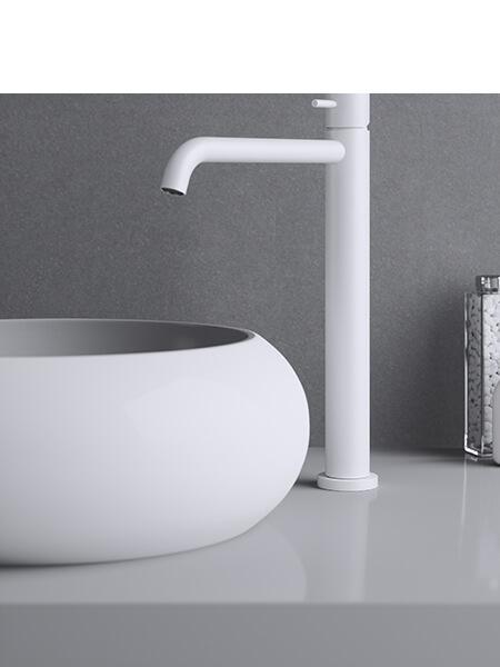 Monomando lavabo alto minimal blanco mate Martelli Made in Italy