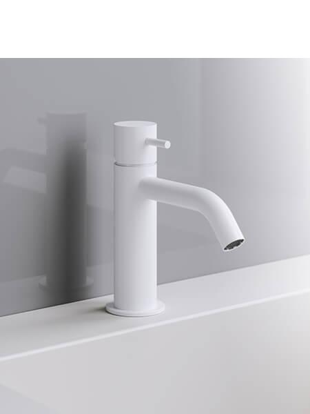 Monomando lavabo minimal blanco mate Martelli Made in Italy