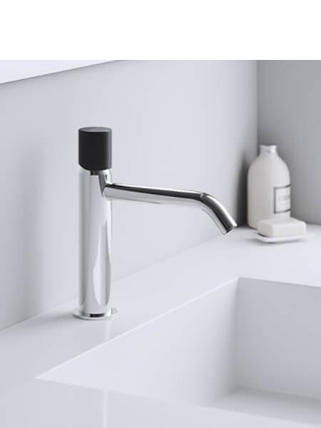 Monomando lavabo minimal free cromo-negro Martelli Made in Italy