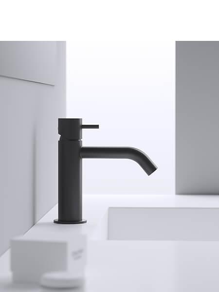 Monomando lavabo minimal negro mate Martelli Made in Italy