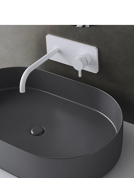 Monomando lavabo placa empotrado minimal blanco mate Martelli Made in Italy