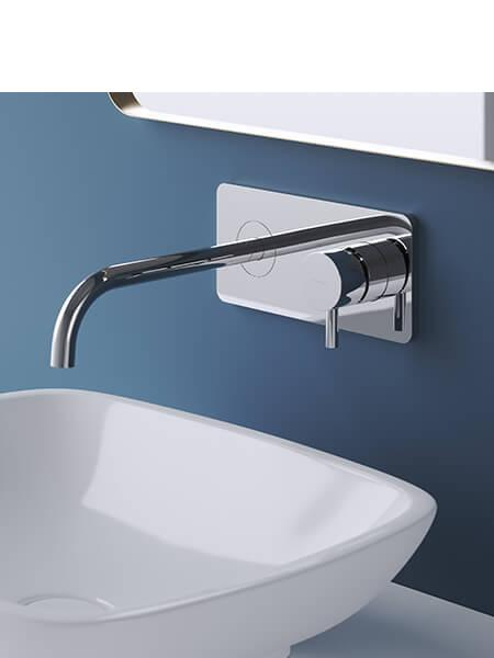 Monomando lavabo placa empotrado minimal cromado Martelli Made in Italy