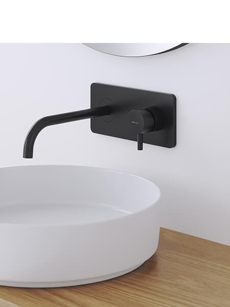 Monomando lavabo placa empotrado minimal negro mate Martelli Made in Italy