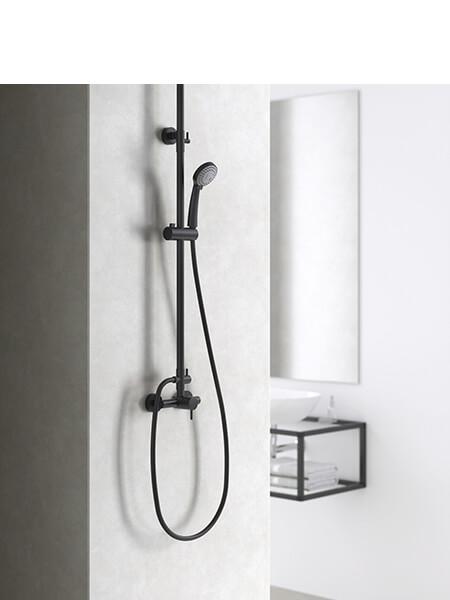 Columna de ducha monomando cromo o negra Minimal Martelli Made in Italy